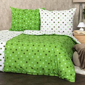 4Home Bavlnené obliečky Bodky zelená, 160 x 200 cm, 70 x 80 cm