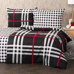 4Home Flanelové obliečky Kocka čierna, 160 x 200 cm, 70 x 80 cm