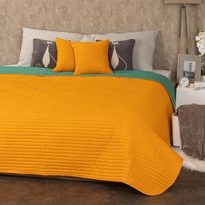 4Home Prehoz na postele Doubleface oranžová/zelená