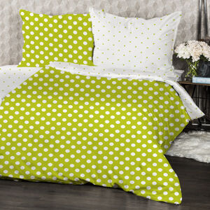 4home Bavlnené obliečky Zelená bodka, 160 x 200 cm, 70 x 80 cm