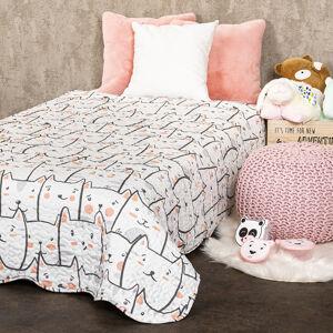 4home Detský prehoz na posteľ Mačky, 150 x 200 cm