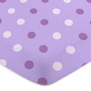 4home Jersey prestieradlo Bodka fialová, 90 x 200 cm
