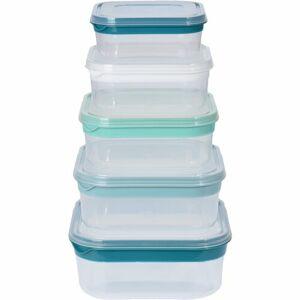5-dielna sada štvorcových plastových dóz s viečkom
