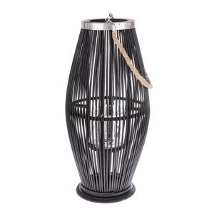 Bambusový lampáš so sklom Delgada tmavohnedá, 59 x 29 cm