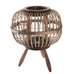 Bambusový lampáš so sklom Horta, 23 x 20 cm