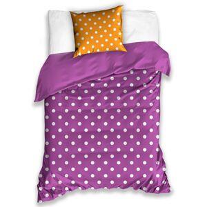 BedTex Bavlnené obliečky Bodka fialová, 140 x 200 cm, 70 x 90 cm