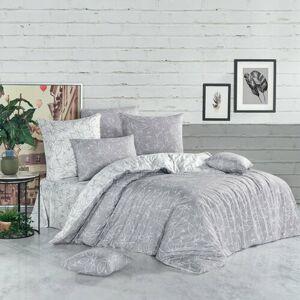 BedTex Bavlnené obliečky Flores strieborná, 220 x 200 cm, 2 ks 70 x 90 cm