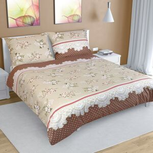 Bellatex Bavlnené obliečky Kvetina kávová, 240 x 220 cm, 2 ks 70 x 90 cm