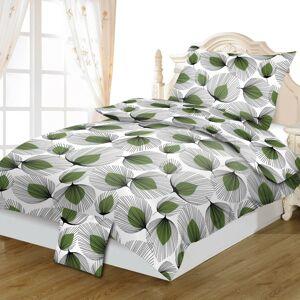 Jahu Bavlnené obliečky Lístky zelená, 140 x 200 cm, 70 x 90 cm, 40 x 40 cm