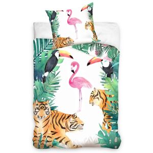 BedTex Bavlnené obliečky Plameniak a Tigre, 140 x 200 cm, 70 x 90 cm