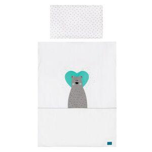 Belisima Detské bavlnené obliečky Bear in love tyrkysová, 100 x 135 cm, 40 x 60 cm