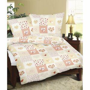Bellatex Flanelové obliečky Srdce patchwork, oranžová, 140 x 200 cm, 70 x 90 cm