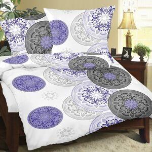 Bellatex Krepové obliečky Mandala fialová, 140 x 220 cm, 70 x 90 cm