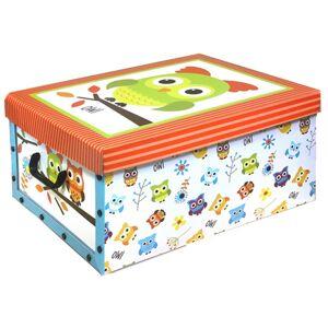 Box s vekom Owl 49 x 24 x 39 cm, oranžové veko