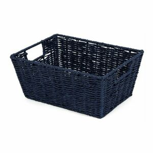Compactor Ručne pletený košík ETNA, 31 x 24 x 14 cm, modrá