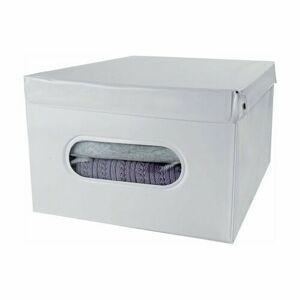 Compactor Skladacia úložná krabica s vekom SMART, 50 x 42 x 28 cm, biela