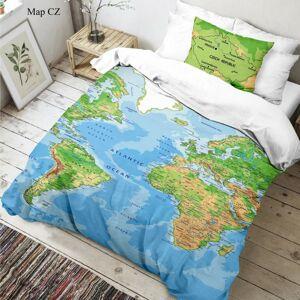 Kvalitex Detské bavlnené obliečky Mapa sveta 3D, 140 x 200 cm, 70 x 90 cm