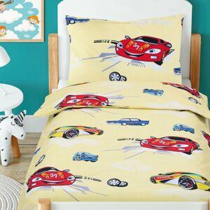 Bellatex Detské bavlnené obliečky do postieľky Beáta Pretekárske autá žltá, 100 x 135 cm, 45 x 60 cm