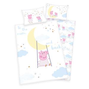 Herding Detské bavlnené obliečky do postieľky Peppa Pig To the moon, 100 x 135 cm, 40 x 60 cm