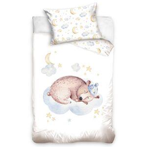 Tiptrade Detské bavlnené obliečky do postieľky Spiaci Medveď, 100 x 135 cm, 40 x 60 cm