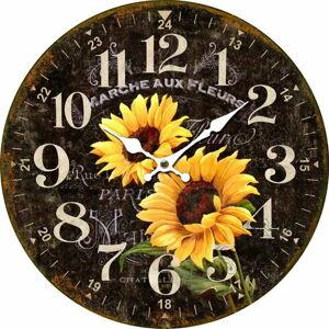Drevené nástenné hodiny Marche aux fleurs, pr. 34 cm