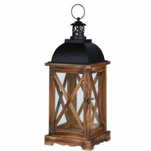 Drevený lampáš Trappeto hnedá, 16 x 41 cm