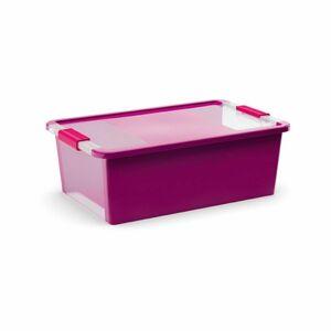 Úložný Bi box M, plastový 26 litrov priehľadná/fialová