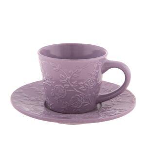 Keramická šálka s podšálkou fialová kvetina 180 ml