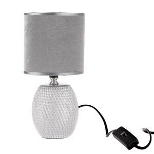Keramická stolná lampa Luna, strieborná, 13 x 26,5 x 13 cm