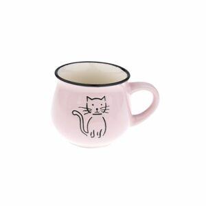 Keramický hrnček Mačka 230 ml, ružová