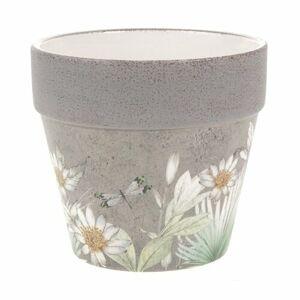 Keramický obal na kvetináč s jarnými kvetinami Foli, 14 cm