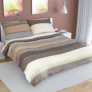Bellatex Krepové obliečky Pruhy béžová, 240 x 200 cm, 2 ks 70 x 90 cm