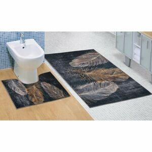 Bellatex Kúpeľňová sada 3D tlač Pierko, 60 x 100 cm, 60 x 50 cm