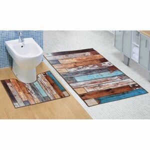 Bellatex Kúpeľňová sada 3D tlač Podlaha drevená, 60 x 100 cm, 60 x 50 cm