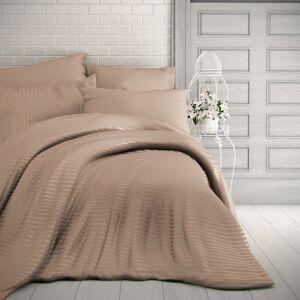 Kvalitex Saténové obliečky Stripe béžová, 140 x 200 cm, 70 x 90 cm