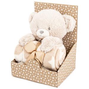 Plyšový medvedík 28 cm s fleecovou dekou 74 x 100 cm, darčekové balenie