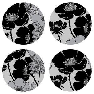 AG Art Podložka pod hrnček Flowers dark, okrúhla, pr. 10 cm, sada 4 ks