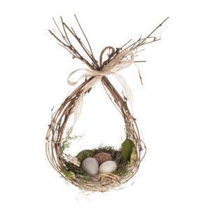 Prútená veľkonočná dekorácia Hniezdo s vajíčkami, 16 x 31 cm