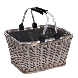 Prútený košík s kovovými ušami Arlon, 39 x 30 x 24 cm