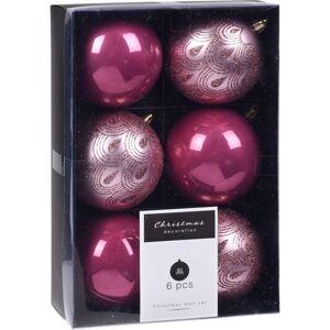 Sada vianočných ozdôb Fraisse ružová, 6 ks, pr. 8 cm
