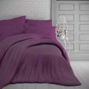 Kvalitex Saténové obliečky Stripe purpurová, 200 x 200 cm, 2 ks 70 x 90 cm