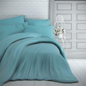 Kvalitex Saténové obliečky Stripe tyrkysová, 220 x 200 cm, 2 ks 70 x 90 cm