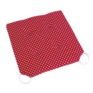 Bellatex Sedák Ulla hladký Srdiečka červená, 40 x 40 cm