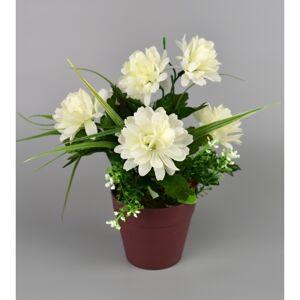 Umelá kvetina Chryzantéma v kvetináči 22 cm, biela