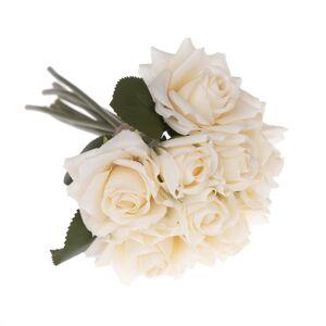 Umelá kytica ruží béžová, 26 cm