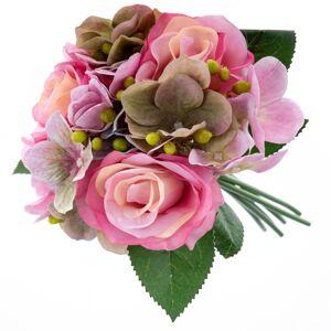 Umelá kytice Ruže s hortenziou, tmavoružová