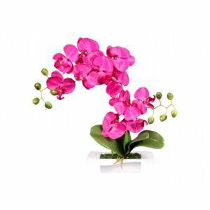 Umelá orchidea v miske 14 kvetov, 45 cm, fialová