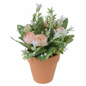 Umelé ruže v kvetináči oranžová, 21 cm