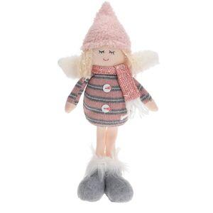 Vianočná dekorácia Anjel s čiapkou ružová, 34 cm