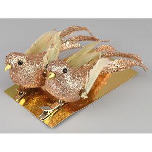 Vianočná dekorácia Vtáčiky 2 ks, zlatá